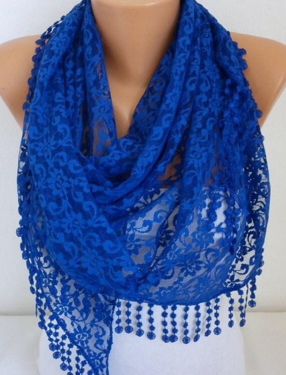 on sale royal blue lace scarf shawl scarf by anils