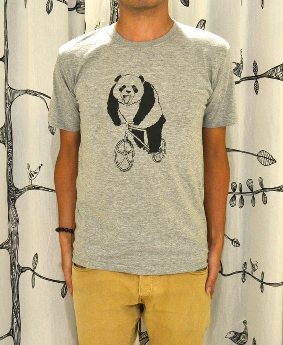 Panda on Fixed Gear Bicycle Graphic Art Grey Tee Shirt size L