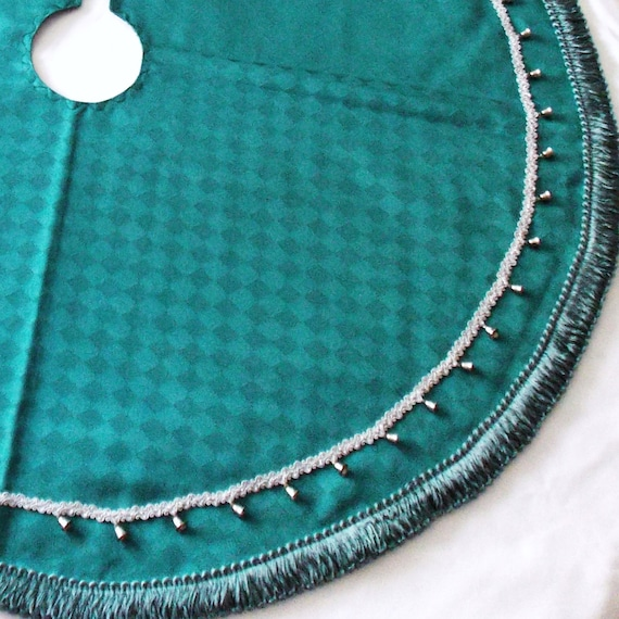 Aqua Christmas Tree Skirt: Tree Skirt Silver Bells And Turquoise 36 Diameter