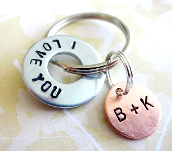 I LOVE YOU Key Chain with Hardware Washer & Copper Disc