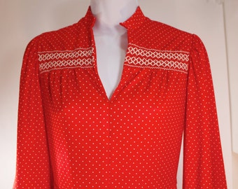 """Smokin Hot Bright Red Dress - 1960s Vintage - White Polka Dots and Smocking - 3/4"""" Sleeve - V Neck - Full Skirt - Great Condition"""