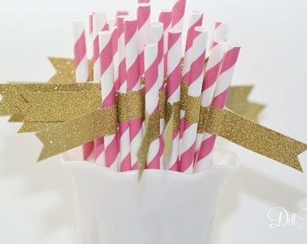 Hot Pink and White Paper Straws with Gold Glitter Flags - 25 count