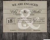 Engagement Party invitation - Wedding announcment - vintage - printed or DIY