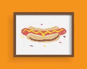 DIY Hot dog / Cross Stitch Pattern .pdf  / Instant Download