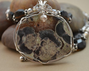 Picture Jasper with smoky quartz and glass beads.