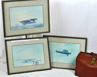 Vintage Airplane Aviation Prints - Set of 3  Art in Coastal Pale Blue & Cream / Gift for Men Father Man Cave