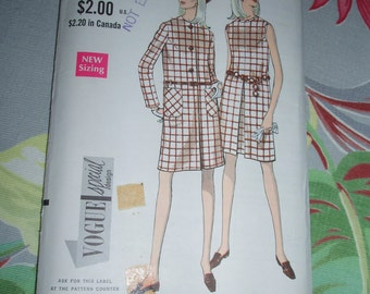 """Vintage 1960s Vogue Special Design Pattern 7248 for One Piece Dress and Coat, Size 10, Bust 32 1/2"""", Hip 34 1/2"""", Uncut Factory Folds"""