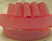 5 Yds. WHOLESALE 7/8 Inch Pink & White Chevron grosgrain ribbon LOW SHIPPING Cost