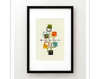 VIEW - Mid Century Modern Danish Modern Abstract Eames Curtis Jere Print