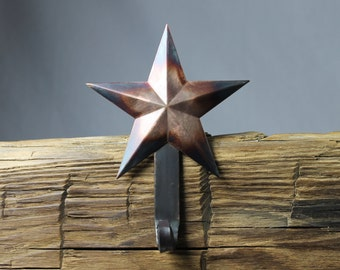 Star Christmas Stocking Hanger,Holder-Forged Iron-Weighs 2 1/2 lbs.
