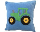 Tractor cushion, blue fleece