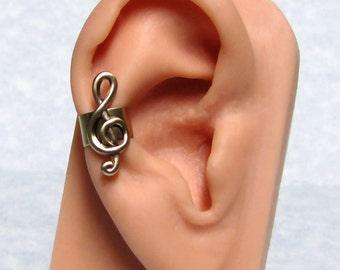 Treble Clef Musical Ear cuff ' right ear '