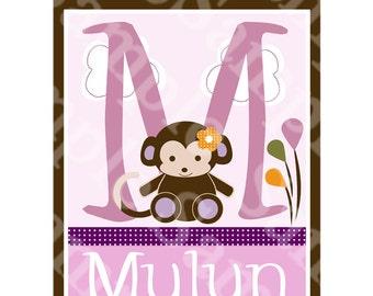Personalized (Jacana Monkey) 8x10 Wood Letter Name Sign/Plaque Nursery Decor