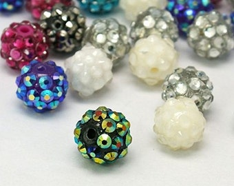 15 Assorted Color Beads Acrylic Rhinestone Resin Balls 12mm - BD170