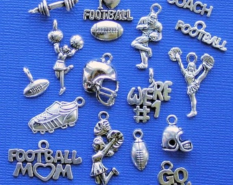 Deluxe Football Charm Collection Antique  Silver Tone 17 Charms - COL244
