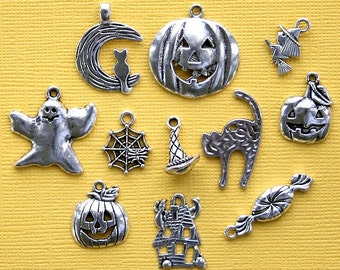 Halloween Charm Collection Antique  Silver Tone 11 Non Scary Charms - COL248