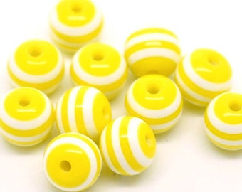 50 Striped 8mm Beads Fun and Colorful Resin - BD331