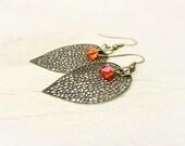 Autumn leaves  earrings. dangle  filigree fire opal crystal drop. Nature inspired bohemian jewelry
