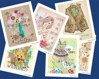 SPRING SALE-a lovely set of my drawn illustrations-6 artprints