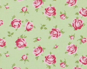 Shabby Chic Fabric by the Yard Green Rose Fabric Little Roses Rosey Tanya Whelan Fabric One Yard