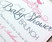 Baby Shower Invitation with Stroller in Pink