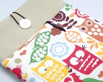 iPad Air case, iPad cover, iPad sleeve/ Samsung Galaxy Tab 3 10.1 with 2 pockets, PADDED - Owls and leaves