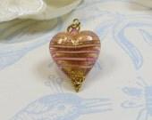 Murano Venetian Glass Heart Pendant 24kt Goldfoil Pink Stripe Murano Heart Pendant Pink Gold Heart Pendant w Swarosvski Crystal  Vermeil