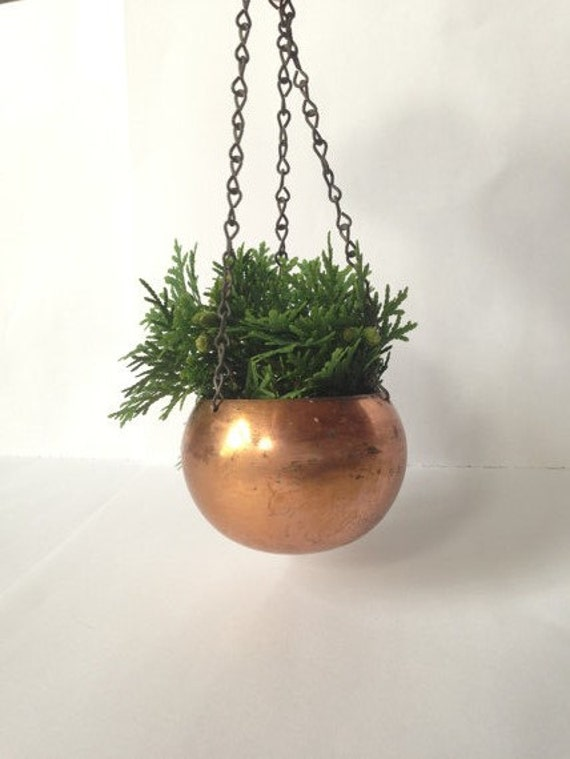 Vintage Petite Hanging Copper Planter Home Decor Small Round