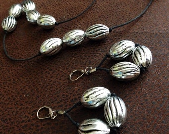 Silver and black twine beaded necklace and earrings