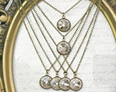 Necklaces SET OF SIX Swarovski Crystal 16 - 18 Inches Long on Antique Brass Chain, Weddings and Bridesmaid Gifts