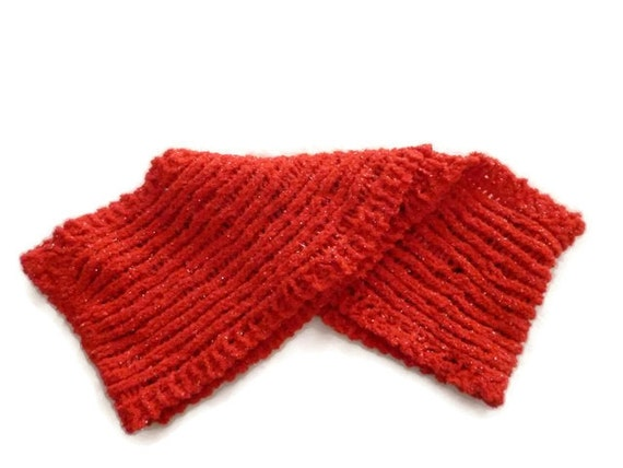 Red Infinity Scarf, Circle scarf, Red Scarf with Sparkles, Fall Scarf, hand knit infinity scarf, Winter infinity scarf
