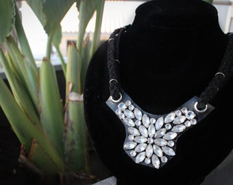 Diamond Flower Statement Sparkly Silver and White Faux Leather Necklace
