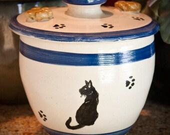 Regal Black Cat Treat Jar in Blue (Medium)