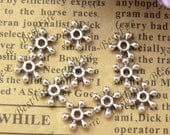 100 pcs 9mm Antique Silver filigree snow flake beads cap,loose metal beads,spacers finding beads