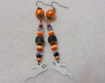 Halloween Earrings, Vintage Ghost Charm Earrings, Black and Orange Earrings