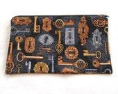 Locks and Keys Fabric Zipper Pouch / Pencil Case / Make Up Bag / Gadget Sack