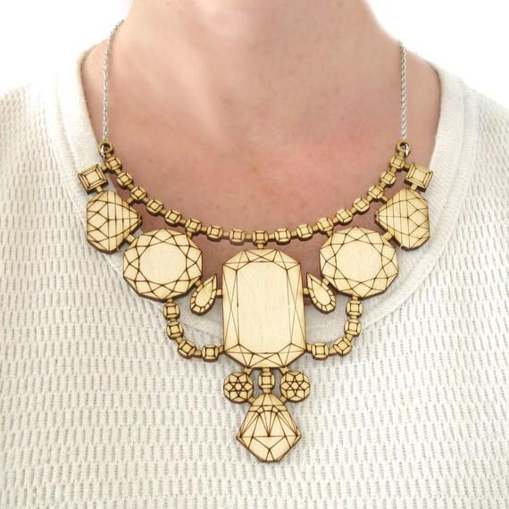 Wood Laser Cut Statement Necklace - Bib Engraved Geometric Jewels Birch Ply Jewelry