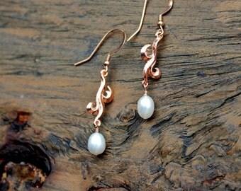 Rose gold earrings, rose gold pearl, handmade rose gold