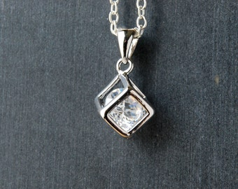 Silver Cubic Zirconia Necklace, Square Crystal Pendant,
