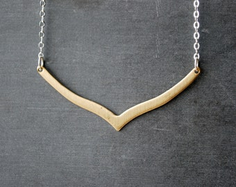 Skinny Brass Chevron Necklace Sterling Silver Chain