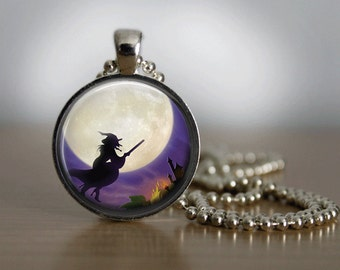 Halloween Necklace Glass Tile Necklace Halloween Jewelry Glass Tile Jewelry Witch Jewelry Holiday Jewelry Silver Jewelry Moon Jewelry