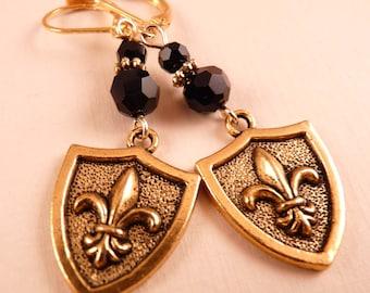 Fleur de Lis Earrings Gold Shield Fleur de lis Jewelry Gold Jewelry Beaded Jewelry New Orleans Saints Beaded Earrings Metal Earrings