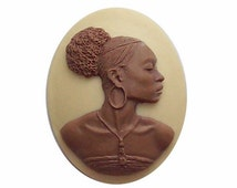 African Cameo Ethnic Cameo Black Americana 30x40 Wedding bridal Favor cabochon Brown Ivory  jewelry findings naturail hair jewelry 548x