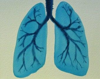 Breathe - original watercolor of lungs