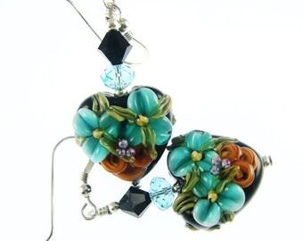 Heart Lampwork Earrings, Glass Bead Earrings, Teal Floral Earrings, Glass Bead Jewelry, Black Beadwork Earrings, Lampwork Jewelry