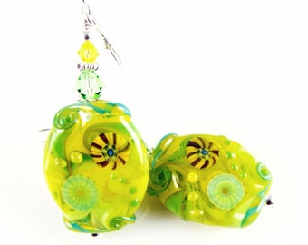 Yellow Glass Bead Earrings, Green Lampwork Earrings, Dangle Earrings, Dangle Drop Earrings, Colorful Abstract Earrings, Lampwork Jewelry