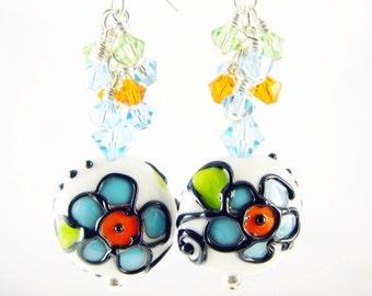 Lampwork Earrings, Turquoise Dangle Earrings, Flower Earrings, Summer Glass Bead Earrings, Green White Beadwork Earrings, Lampwork Jewelry