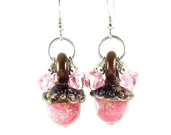 Acorn Earrings, Lampwork Earrings, Pink Dangle Earrings, Glass Bead Jewelry, Unique Beadwork Earrings, Lampwork Jewelry