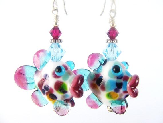 Glass Bead Earrings, Lampwork Earrings, Fish Earrings, Teal Dangle Earrings, Unique Earrings, Fuchsia Beadwork Earrings, Lampwork Jewelry