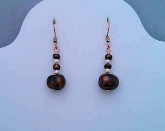 Copper and Freshwater Pearl Earrings